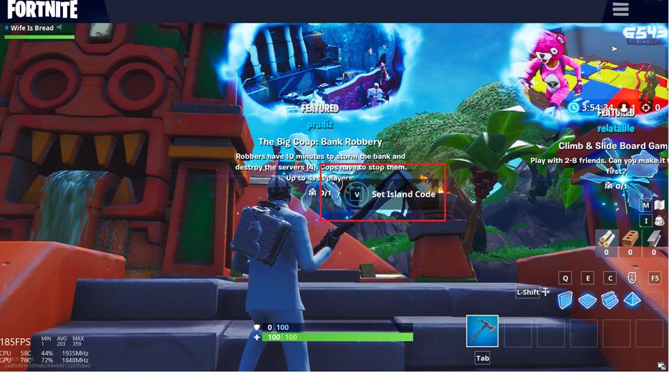 set island code in Fortnite