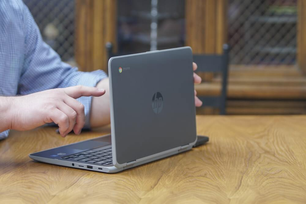 A chromebook being used at home