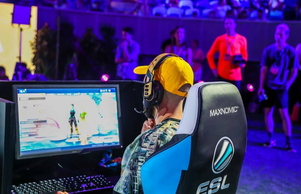 Fortnite gamer playing at Melbourne, Australia competition
