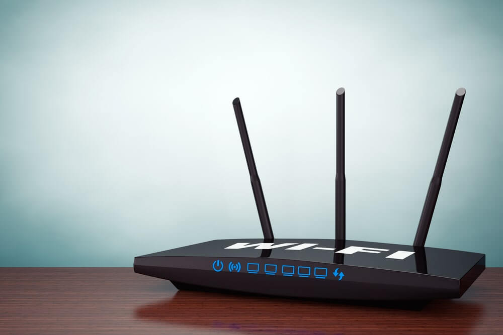 a router on a table
